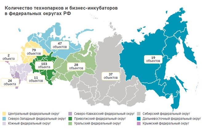 Карта бизнес-инкубаторов в России